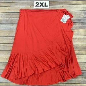 LuLaRoe Skirts - Lularoe 2xl Bella Wrap Skirt Solid Coral